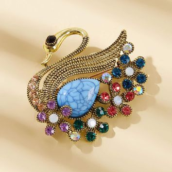 Turquoise Decor Rhinestone Engraved Swan Brooch 1Pc