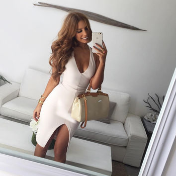 Sexy White V-neck Hanging Neck Open Halter Dress [9551610563]