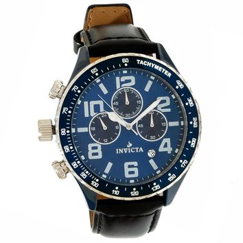 Invicta 11250 Men's I Force Lefty Blue Dial Black Leather Strap Chronograph Blue Ceramic Watch