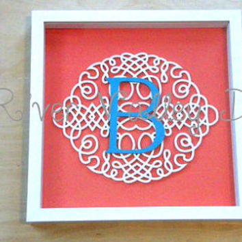 Monogram shadow box frame, shadow box design, wall boxes for wall, shadow box art, monogrammed gifts
