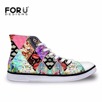 FORUDESIGNS Fashion Patchwork Pattern Classic High Top Vulcanized Shoes for Women Comf