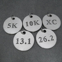 The Run Home Round Pewter Running Charms - XC, 5k. 10k, 13.1, 26.2 and Runner Girl - Available only at The Run Home - ONE (1) Round Charm