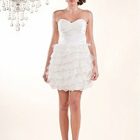 [$176.04 ] Brilliant  Taffeta &Tulle  Short Strapless Sweetheart neckline Wedding Dress - Edressbridal.com