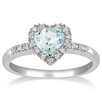 Sterling Silver, Aquamarine, and Diamond Heart Ring (0.1 cttw, G-H Color, I2-I3 Clarity)