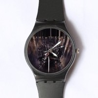 Custom Game of Thrones Watches Classic Black Plastic Watch WT-0806