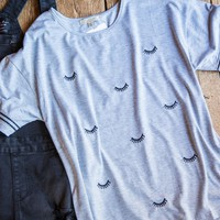 Eyelash Graphic Tee, Grey
