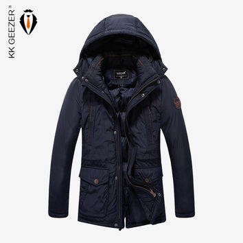 New Mens Winter Jackets And Coats Fashion Casual Removable Hat Business Leisure Slim Fit Hooded Thick Solid Fashion Warm Coat