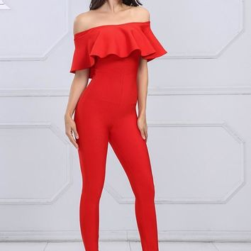 Red Ruffled Off Shoulder Bandage Jumpsuit