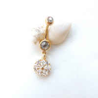 Flower Belly Button Ring, Gold Navel Rings, Sexy Body Jewelry, Small Belly Rings, Crystal Belly Rings, Gift Idea. 435