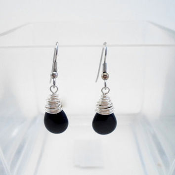 Dangle Earrings Sterling Silver with Black Onyx, Agate briolette. Wire wrapped  December Birthstone.