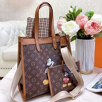 LV New Fashion Monogram Print Leather Shoulder Bag Crossbody Bag Two Piece Suit Bag