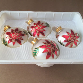 Poinsettia Ornaments, Vintage Glass, Hand Painted, Glitter, Green and Red, Gold Crowns, Holiday Decoration, Made in Germany,  Boxed set of 4