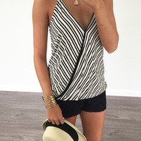 When I See You Again Black And White Striped Racerback Wrap Tank