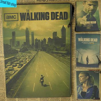 The Walking Dead B gather Home Furnishing decoration Kraft Movie Poster Drawing core Wall stickers