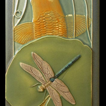 art tile, ceramic tile, animal art, Koi and Dragonfly, wall decor, wall hanging, tile, 4x8 inches