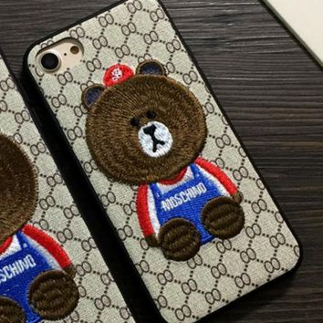 Three-dimensional embroidery brown bear iphone 6plus mobile phone shell iphone7 full bag of anti-fall skin wrinkles protection of 6s couples