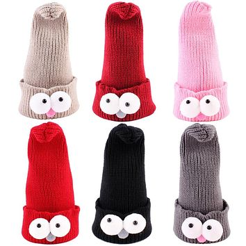 Baby Hat 2018 Cute Hats for Girls Kids Knitted Hat Cartoon Big Eyes Skull Hip Hop Cap Baby Photos Props
