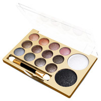 12+2 Color New Makeup Women Natural Warm Eyeshadow+1Pcs Blush Palette Set with Brush + Free Shipping