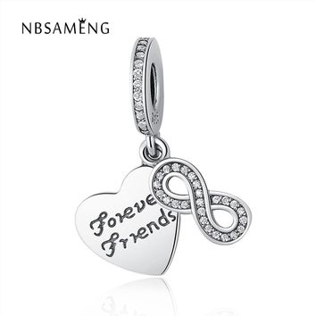 Hot Sale 100% 925 Sterling Silver Forever Friends Dangle Charms Fit Original Pandora Bracelet Pendant Authentic Jewelry Gift
