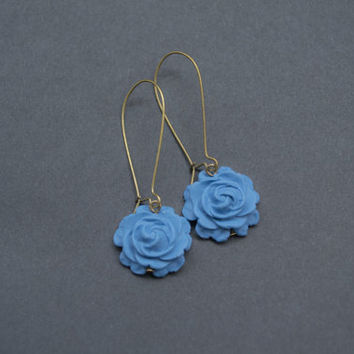 Polymer Clay Rose Earrings. Jean Blue Flower Earrings. Long, Dangle, Antique Brass. Blue Jewelry. Flower Jewelry