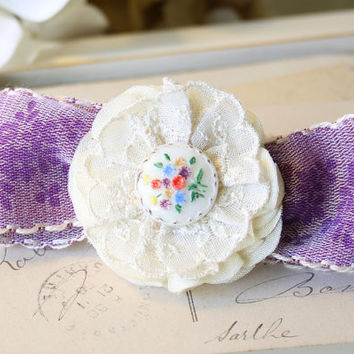 Flower Girl Hair Barrette - Purple Ribbon Hair Bow with Ivory Fabric Flower