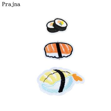 Prajna  Japanese Sushi Patches  Iron On Patches Cheap Embroidery Patch Applique Parches Ropa For Clothing Stripes Stickers DIY