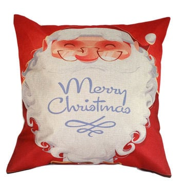 Red Santa Claus Embroidery Cushion Cover