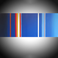 """ARTFINDER: Lateral Flats  triptych 3 panel wall art colorful images 3 panel triptych orange blue canvas wall abstract canvas pop abstraction 60 x 28"""" by Stuart Wright - """"Lateral Flats""""   3 piece canvas art, colours..."""
