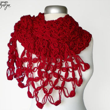 Crochet Solomons knot crimson red scarf lace wrap shawl