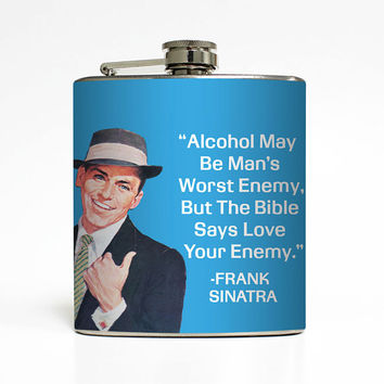 Alcohol Flask Liquid Courage Love Your Enemy Frank Sinatra Groomsmen Guys 21st Birthday Gift Stainless Steel 6 oz Liquor Hip Flask LC-1450