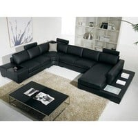 Sectional Sofas: Modern Black Leather Sectional Living Room Furniture