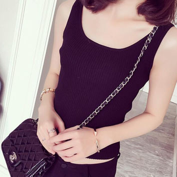 New Summer fashion Women Solid Color weave U Neck sleeveless T-shirt -0703