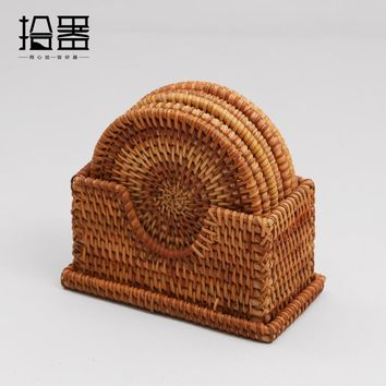 6pcs Handmade Bamboo Cup Coaster Cup Mat Cup Cushion Table Placemats Mug Pads Tea Cup Holder Kung Fu Coffee Tea set Accessories