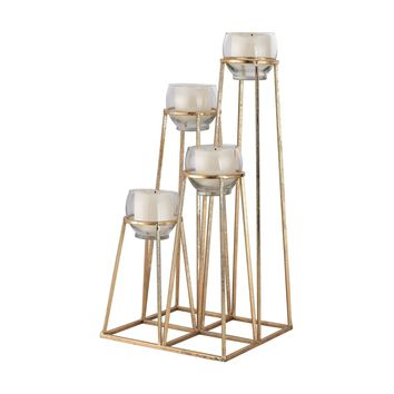Skyline Cupped Tea Light Holder Gold Leaf