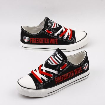 Firefighter Wife Low Top Canvas Shoes Custom Printed Sneakers