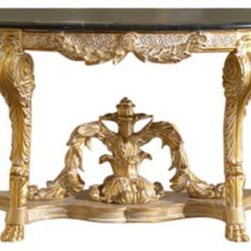 Versailles Console Table Gold Finish With A Genuine Marble Top