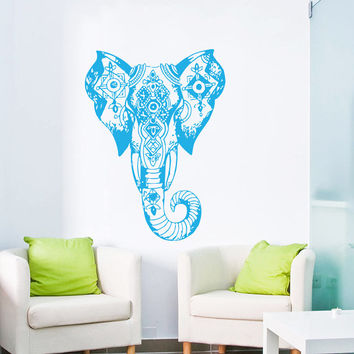 Wall Decal Vinyl Sticker Decals Art Home Decor Mural Indian Elephant Tribal Pattern Om Sign Ganesh Buddha Lotus Yoga Art Bedroom Dorm AN38