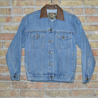Express Leather Collar Denim Jacket - XS
