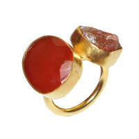 Sun Stone Ring, Gold Carnelian ring, Yellow Gold Vermeil, Red stone ring, Any Occasion Ring, Handmade Gold Ring, Rough Cut Stone, Stone Ring