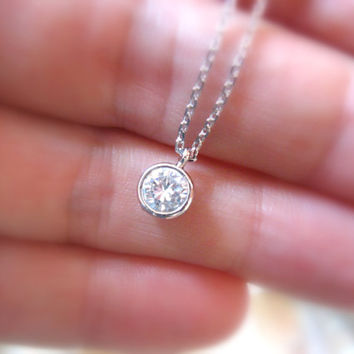 Diamond Solitaire Necklace, Tiny Diamond Necklace, Dainty Silver Necklace, Silver Necklace, Bridesmaids Jewelry Gift, Bridesmaids Necklace