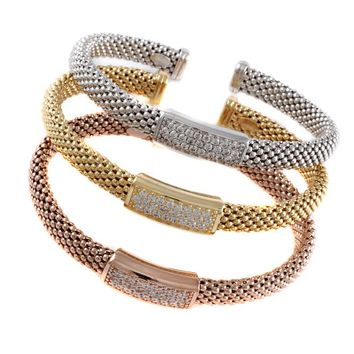 """Fancy Italiano By Debbie 925 Italian Sterling Silver Popcorn Mesh Cz Plaque Bracelet Dipped Into White Gold Size - 7"""" (ROSE GOLD PLATING)"""