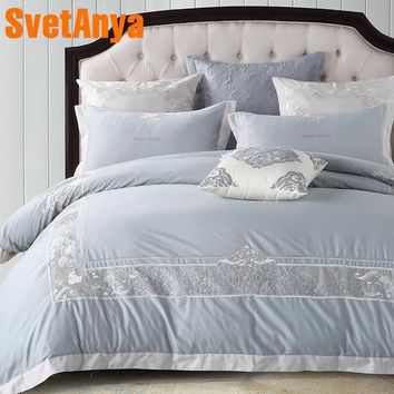 Cool Light Blue European Style Embroidery Bedding Set 4/6pcs Queen King Size Sanding Egyptian Cotton Duvet Cover Sheet Pillow CasesAT_93_12