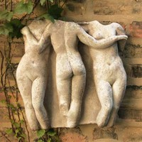 Three Graces Greek Wall Relief for Garden 16H