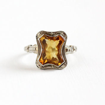 Vintage 10k White Gold Citrine Ring - Antique Size 7 3/4 Art Deco 1920s Orange Yellow Golden Gem Statement November Birthstone Fine Jewelry