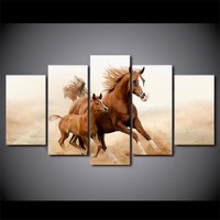 Horses Horse Cub Run Galloping Wall Art Canvas Panel Picture Poster Print Framed