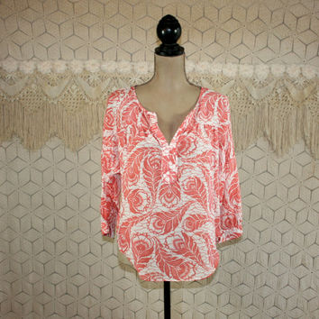 Peasant Blouse Boho Tunic Top Silk Cotton India Print Shirt Medium Rust Peach and White Ann Taylor Womens Clothing