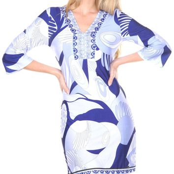 Belinda Mini Dress Print Blue Drop Waist 3/4 sleeve V Neck