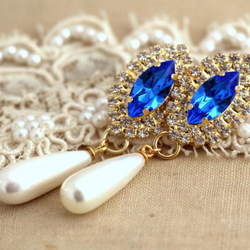 Blue sapphire pearl chandeliers droplets Pearl Swarovski earrings, Bridal jewelry, pearl earrings, gift for woman plated Thick Gold  pearls