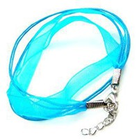 Baby Blue Chiffon Silk & Braided Cord Wrap Bracelet Silver Plated Lobster Clasps,Adjustable 20 Inch Length: Jewelry: Amazon.com