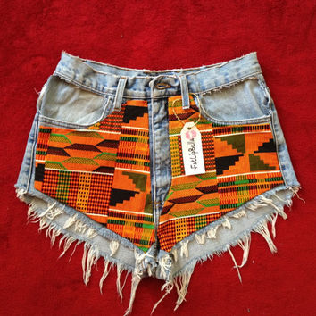 Vintage high waist or low rise kente shorts by FatLipBella on Etsy